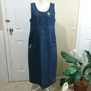 Disney Denim Sleeveless Dress Sz Large